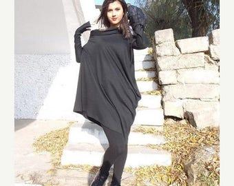 Black Tunic, Oversize Black Loose Casual Top, Asymmetric Raglan Long Sleeved Tunic One Size