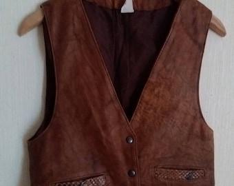 Vintage 90s Brown Leather Womens Vest Large Size