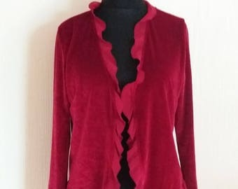 Vintage Red Womens Velveteen Jacket Medium to Large Size