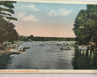Vintage Kennebunkport Maine Postcard Picnic Rocks Kennebunkport ME