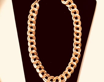 Vintage 18 Inch Gold Chain Choker Gift for Her Wide Chain Necklace