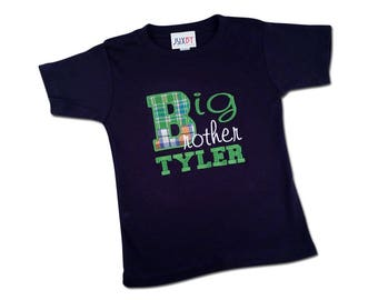 Boy's Plaid 'Big Brother' Shirt with Embroidered Name - M2