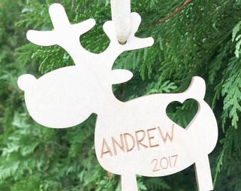 Personalized Reindeer Christmas tree ornament Rudolf ornament new baby ornament heart ornament kids christmas gift