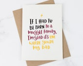 Funny Father's Day Card - Potter Inspired Fathers Day Card - Dad Card - Card for Dad - Muggle