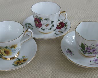 3 ROYAL LONDON CUPS and Saucers, Flowers, Bone China,  Made in England