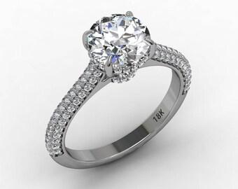 Forever Brilliant Moissanite Engagement Ring 7.5mm Round Forever Brilliant Moissanite Ring Natural Diamonds 18k Gold Pristine Custom Rings