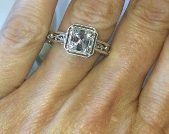 Forever One Moissanite Asscher Cut Engagement Ring 6.5mm Moissanite Center Moissanite Accents Vintage Deco Style  Pristine Custom Rings