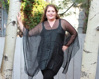 Black and Silver Striped Formal Shawl Top - Silk