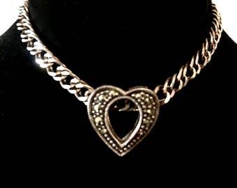 Silver marcasite chain slider heart bracelet 925 sterling silver