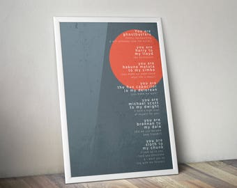 You are my - typography print - framed and unframed options available