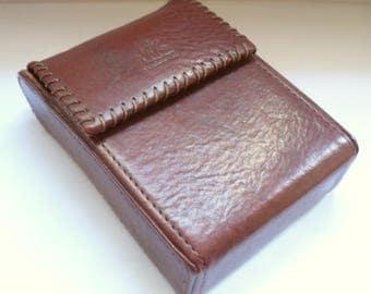 Vintage brown leather Cigarette case M+K