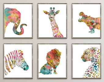 nursery animal prints kids animal wall art watercolor animals girl nursery decor - Prints For Kids