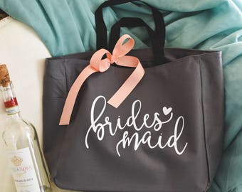 Bridesmaid Tote Bag, Bridal Party Wedding Tote Bag, Bridesmaid Gift Tote, Maid of Honor Tote, Personalized Bridesmaid Tote (SPB04)