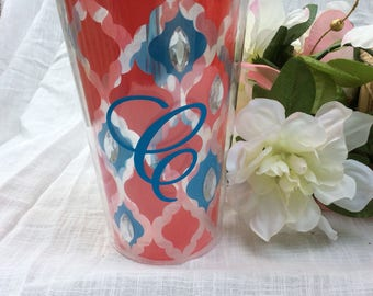 Monogram C Tumbler Cup with Straw