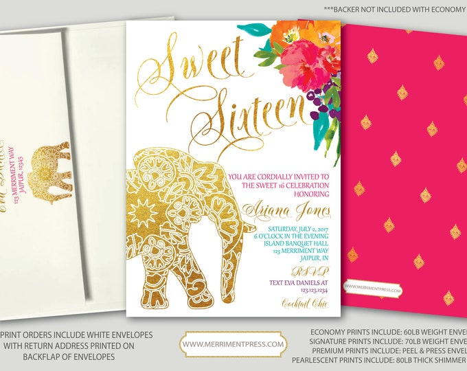 Indian themed Sweet Sixteen Invitation // Bollywood // Elephant // Paisley // Gold // 16 // Pink // Orange / Purple / JAIPUR COLLECTION