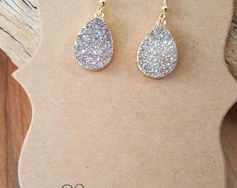 15% OFF SALE Champage Druzy Drop Gold Filled Earrings / Druzy Earrings / Gold Druzy Earrings / Teardrop Earrings / Pear Earrings / Boho / St