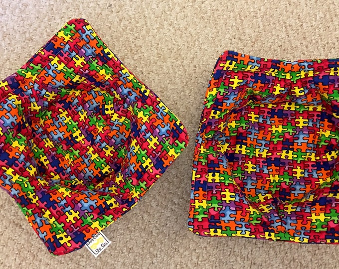 Puzzle Microwave bowl cozies SET OF TWO / bowls not included