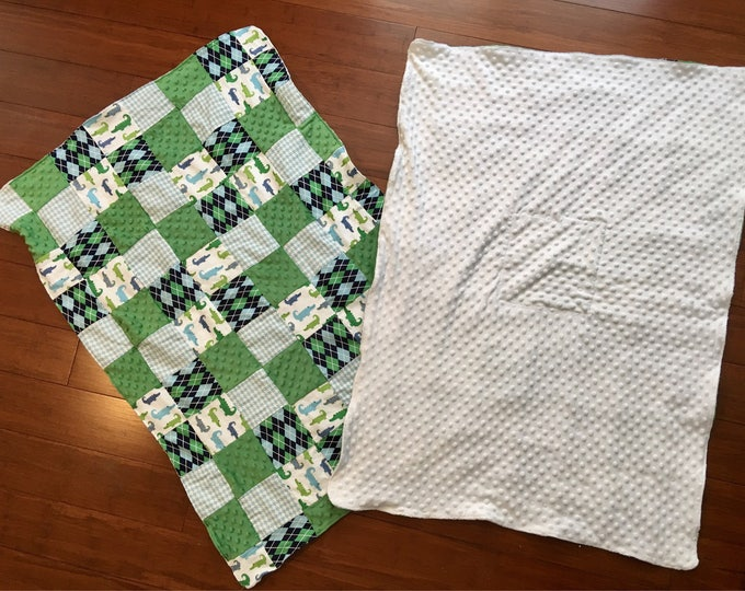 """Minky and flannel soft fabric blanket 36"""" x 44"""" green patterns or pink patterns / bith white backing"""