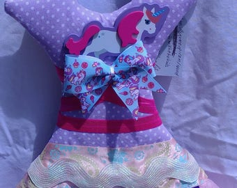 Unicorn theme wall hanging and hair accessory organizer, holds bows, clips, headbands, and more. Handmade ready to ship