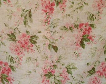 Gorgeous antique FRENCH 1900s edwardian trailing pinks wisteria textile fabric ~ pillow projects~ so beautiful!