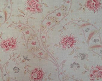 Very pretty antique french 1900 faded florals indienne style textile fabric ~projects