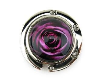 Purse Hanger, Purse Hook, Purse Holder, Folding, Photo, Magnetic, Glass, Rose, Dark Pink, Flower, Floral