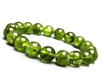 10mm Peridot Bracelet, Green Peridot Beads Bracelet, Peridot Jewelry Gift,Green Gemstone Bracelet,Peridot Stretch Bracelet,August Birthstone