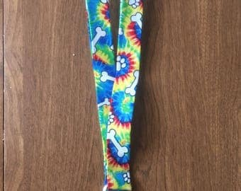 Tye dye dog bone lanyard