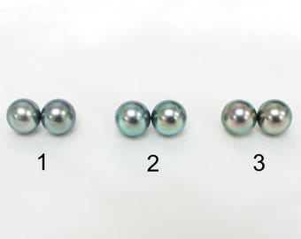 Peacock Green 10mm A Grade Round Tahitian Pearls for Earrings Studs