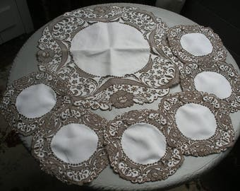 Vintage Madeira embroidered linen doilies set