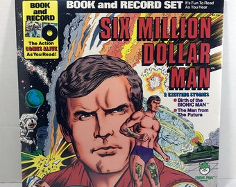 SEALED Six Million Dollar Man Comic Book & Vinyl Record 1977 Peter Pan Records Kids Storybook Children's Records