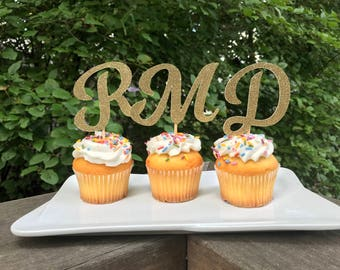 Initial Cupcake Toppers 12 Ct, Glitter Cupcake Decoration, Custom Birthday Decorations, Personalized Cupcake Toppers