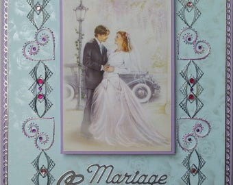 embroidered card, image couple married, old car