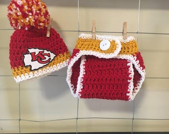 Kansas City Chiefs football hat, Kansas City Chiefs baby hats, Kansas City Chiefs photo props, baby Chiefs diaper cover