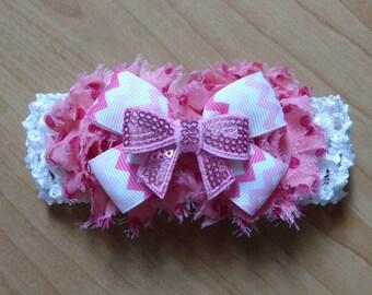 Shabby Headband, Baby Girl Headband, Pink Headband, Baby Hair Accessory, Baby Headband, Flower Headband, Infant Headband Baby Bow Headband