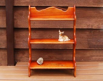 large cherry wood wall shelf vintage wooden wall shelf standing spice rack decorative