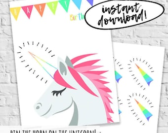 Pin The Horn On The Unicorn Kids Birthday Games Instant Download Print And Play Unicorns Pin The Tail Game