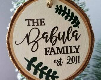 Family Ornament, Family Ornament Personalized, Established Sign, Rustic Family Ornament, Farmhouse Christmas Decor, Christmas Ornament
