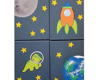 Space Nursery Decor, Boy Nursery Decor, Solar System Nursery, Dinosaur Space Decor, Nursery Canvas, Space Nursery Wall Art, Space Art