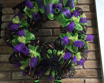 ON SALE Halloween Witch Wreath, Whimsical, The Witch Is In, Deco Mesh