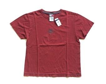 NWT Tommy Hilfiger Jeans 1985 burgundy 100% cotton crewneck short sleeve T shirt mens Medium SAMPLE double stitch