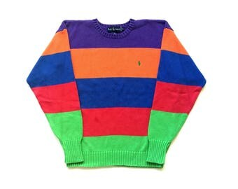 90s Colour block Polo Ralph Lauren multi colour striped knit sweater unisex Mens Medium Womens Large vintage 100% cotton pullover