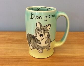 Handmade Mug with Hello/Toodle-oo Corgi Dog. In Aqua & Lime. MA36