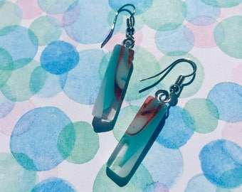 Fused Glass Earrings in White,Blue, and Orange Swirl