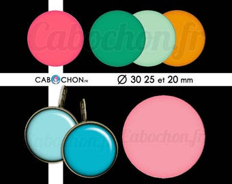 Les Monochromes • 45 Images Digitales RONDES 30 25 20 mm couleur couleurs arc en ciel rose vert bleu uni monochrome orange