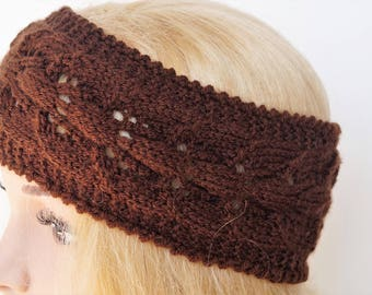 Brown Ear Warmer, Knitted Winter Headband ,Knit and Crochet Headband, Ear Warmer,Brown Headband,Crochet Headband,Knit Turban Headband