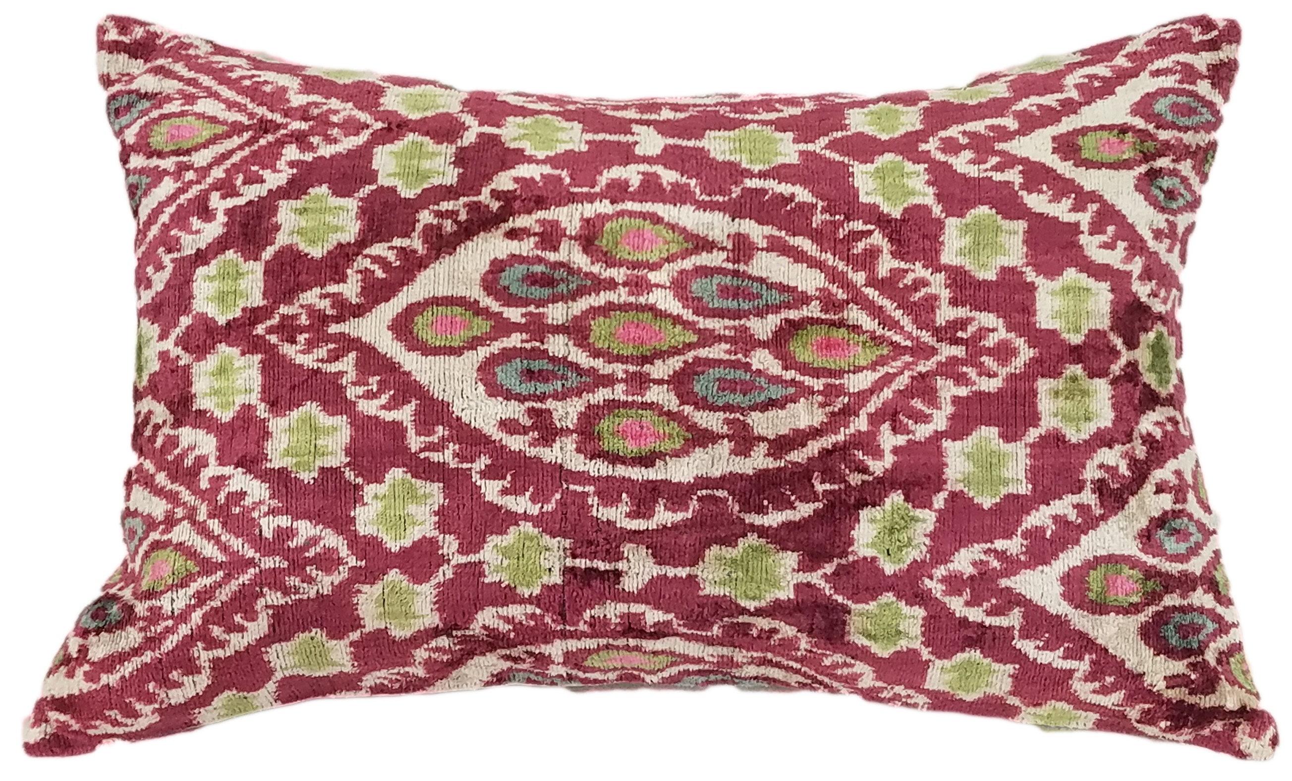 Ikat Lumbar Pillow Velvet Pillow Cover Living Room Pillow