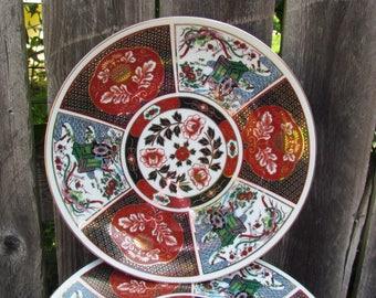 "Vintage Imari Porcelain Set of Eight 8"" Plates"