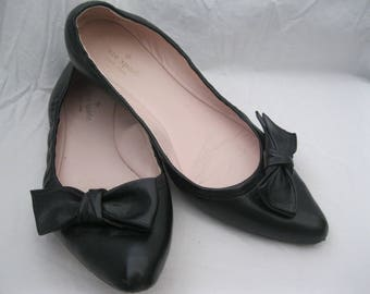 Kate Spade Black Leather Bow Ballet Flats Size 9 1/2M