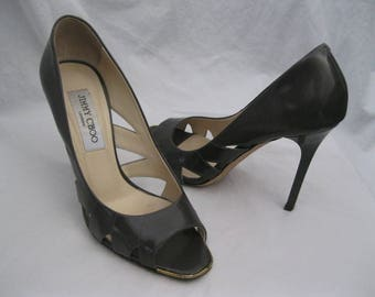 Dark Gray Patent Leather Jimmy Choo Heels Size 37